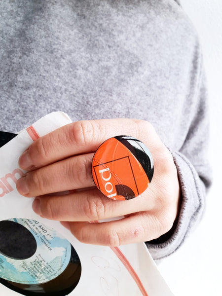 Black and red Polydor vinyl record ring by DANA Jewellery