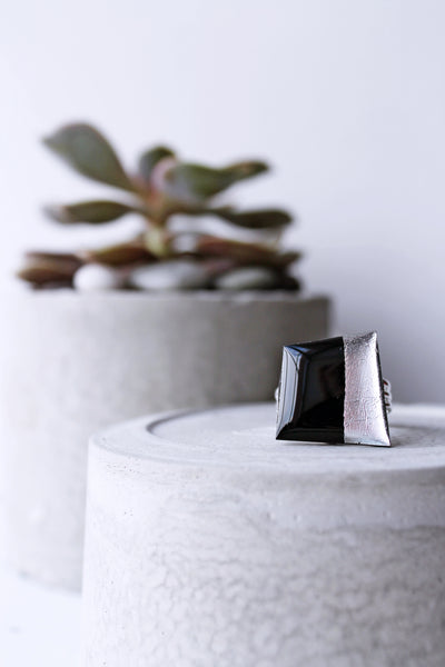 Geometric ring in black and silver / vinyl record jewelry