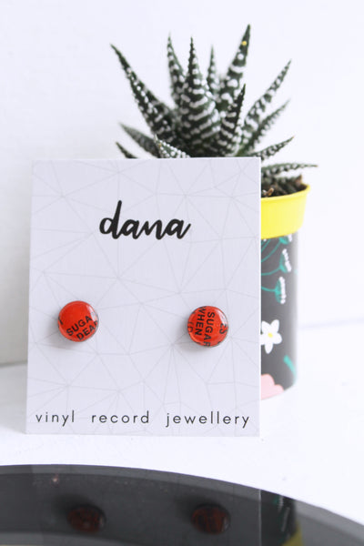 Eco-friendly small red stud earrings / vinyl record jewelry