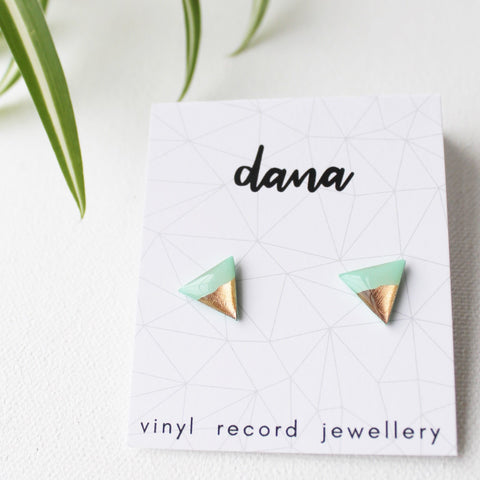 Mint and coppery rose gold  triangle studs