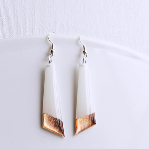 Boho chic white and rose gold long geometric dangle earrings