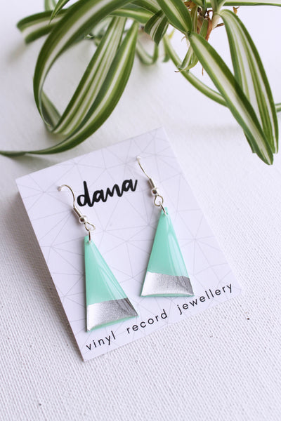 Mint green and silver triangle vinyl record earrings