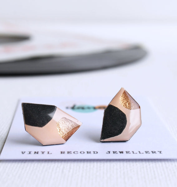 Mixed media abstract geometric earrings handmade from recycled vinyl record