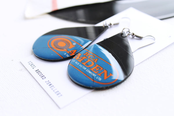 *NEW RCA funky blue and orange unique reclaimed record earrings