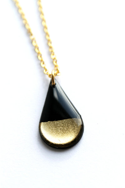 Chic simple metallic teardrop pendants / recycled vinyl record jewelry
