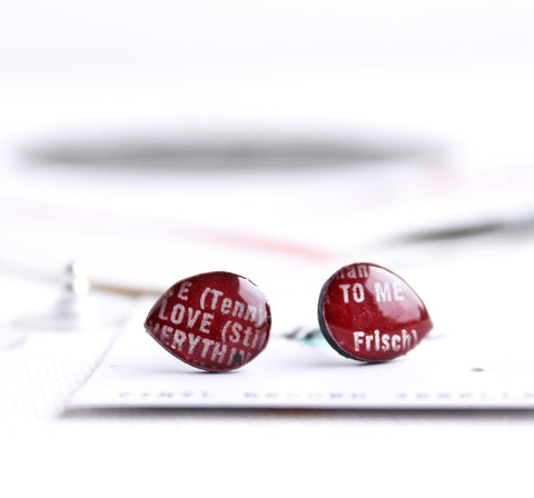 *New LOVE simple deep red teardrop recycled vinyl record studs by DANA Jewellery