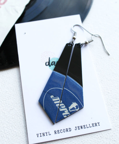 30% OFF Blue long geometric vinyl record earrings