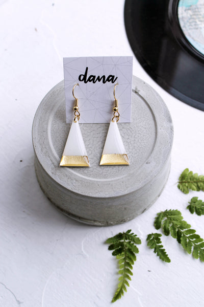 Minimalist white and gold triangle dangle earrings