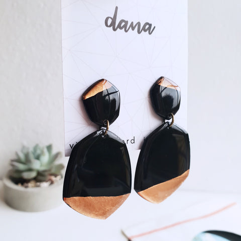 Boho chic copper dipped vinyl record statement earrings / vinyl record jewelry