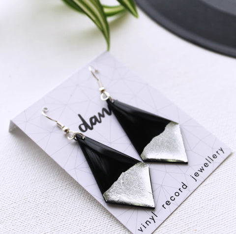 Geometric black and silver eco-friendly vinyl record earrings