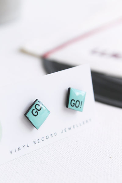 Aqua square vinyl record stud earrings / unique recycled jewelry