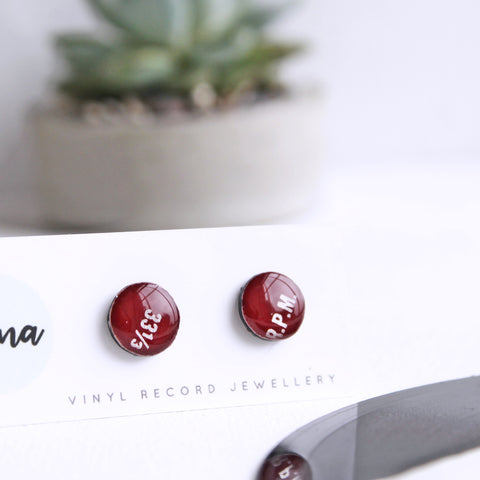 Dark red hypoallergenic eco-friendly studs / vinyl record jewelry