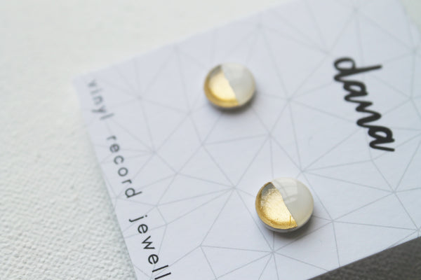 Dainty white and gold studs / vinyl record earrings