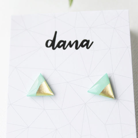 Mint and gold minimal triangle stud earrings / vinyl record studs