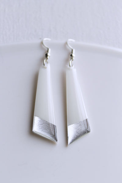 Contemporary handcrafted white and silver vinyl record dangle earrings