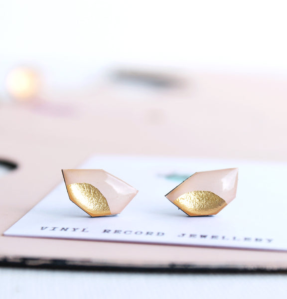 *new* dainty casual chic studs in warm pink and gold