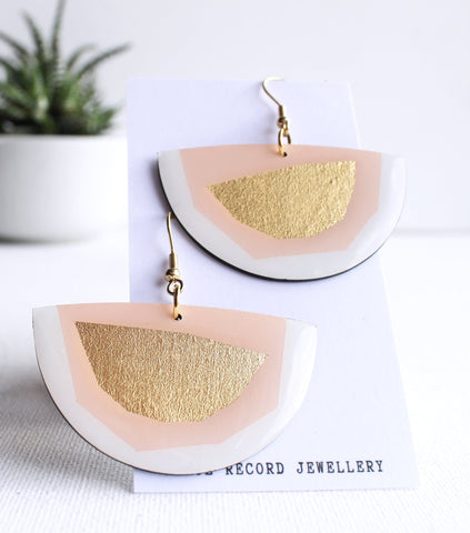 Modern pink and silver semicircle vinyl record earrings / zero waste jewelry