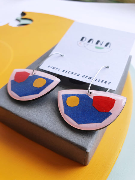 abstract mixed media vinyl record earrings / ethical fashion