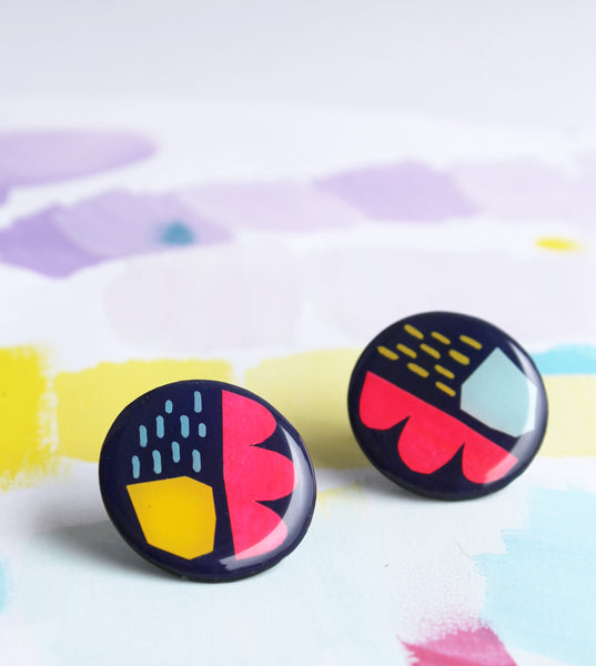 very jazzy studs in midnight blue, solid yellow, light blue and neon pink / art earrings