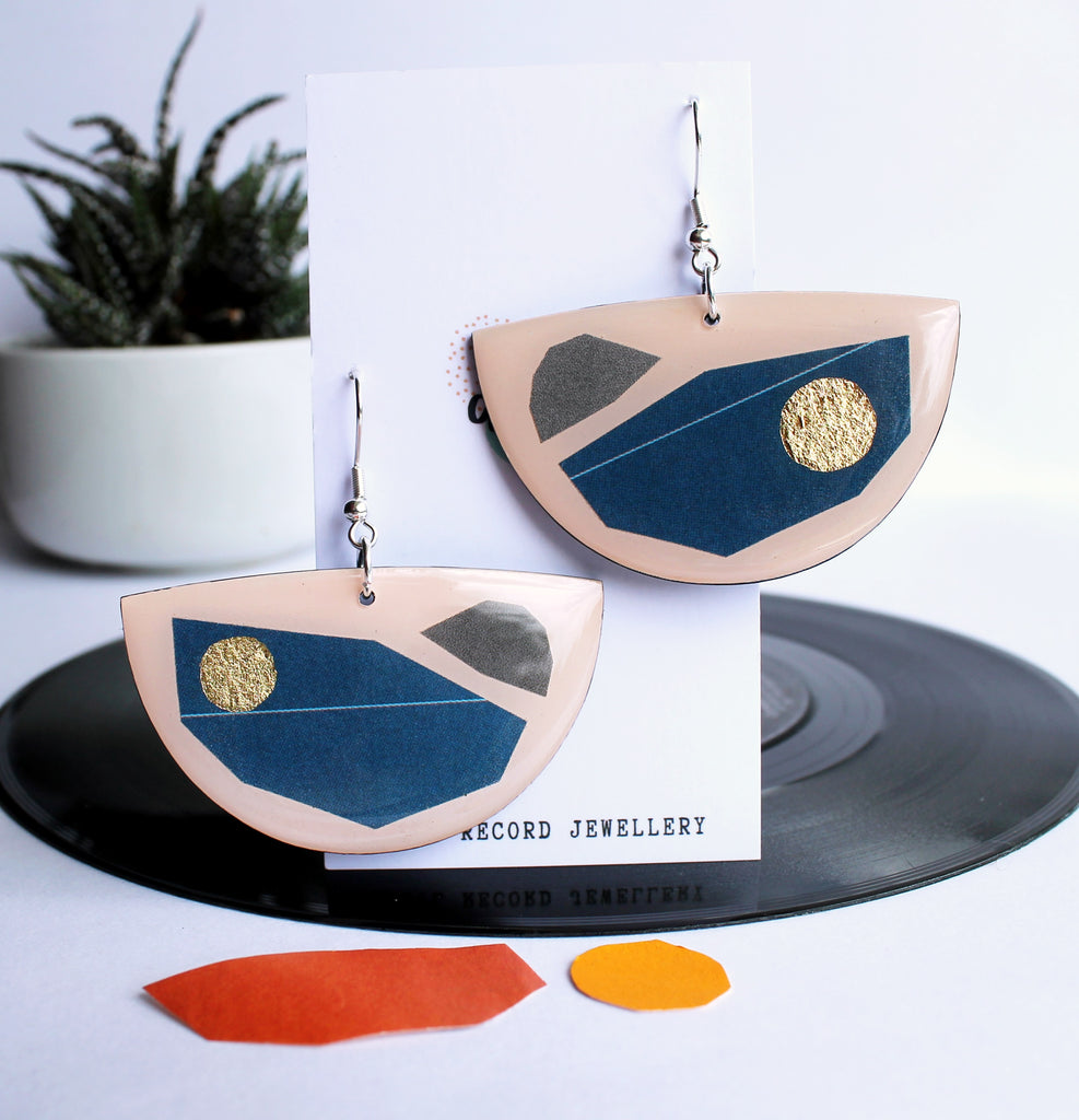 blue gold and warm pink recycled mixed media art earrings / vinyl record jewelry