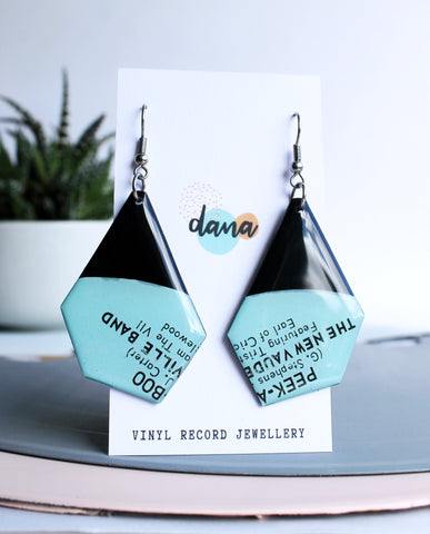 *new PEEK A BOO unique handmade aqua vinyl record earrings
