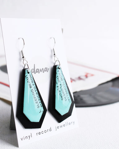 Aqua and black contemporary handmade dangle earrings / vinyl record jewelry