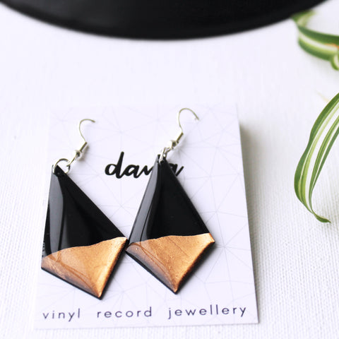 Minimalist black and copper upcycled earrings / record jewelry