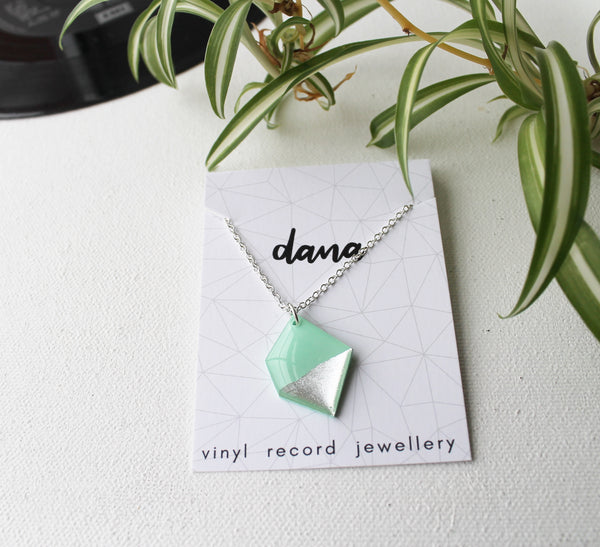 Mint green and silver nugget vinyl record necklace