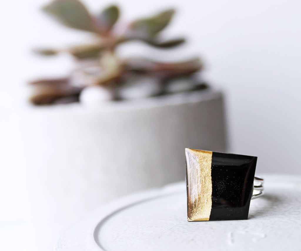 Eco-friendly upcycled ring in black and gold / record jewelry