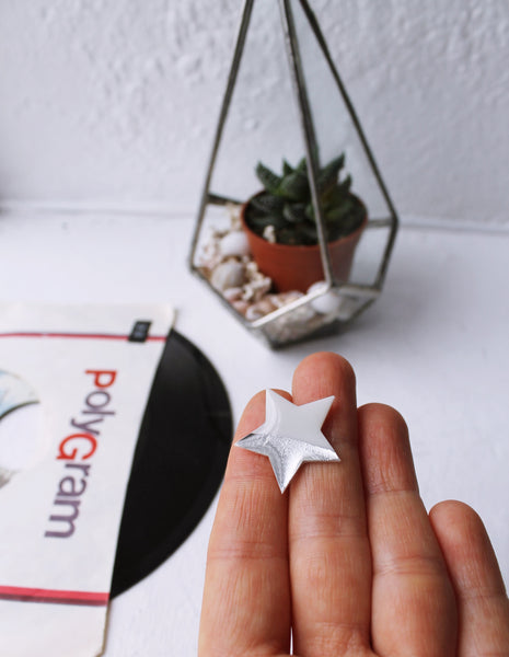 Dainty white and silver star pin badge made from vinyl record