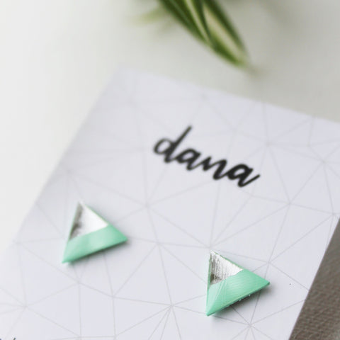 Minimal mint and silver triangle stud earrings / vinyl record studs