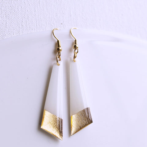 minimalist white and gold vinyl record dangle earrings