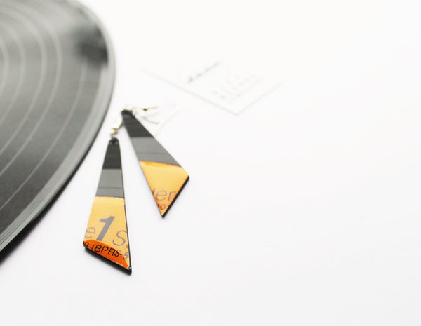 Orange geometric earrings / vinyl earrings