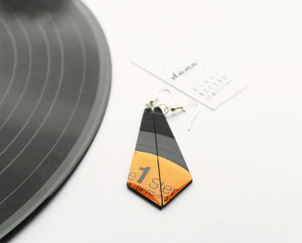 25% OFF Orange geometric earrings / vinyl earrings