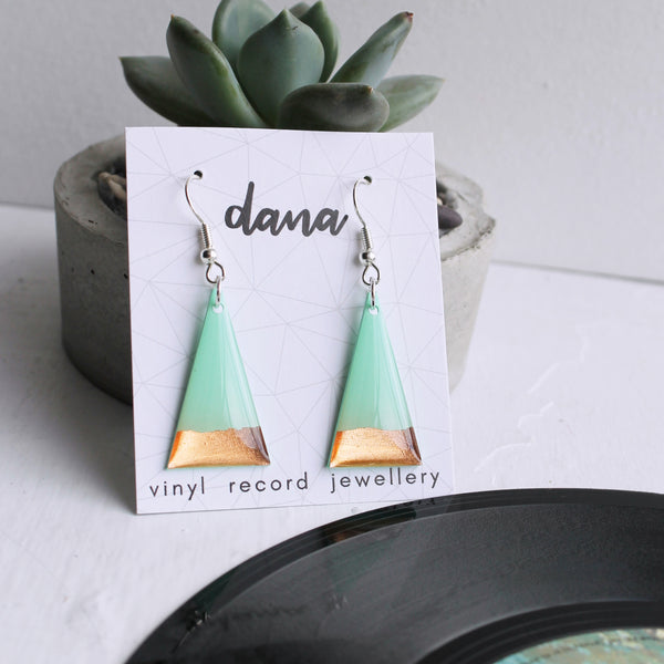 Contemporary mint and copper triangle vinyl record earrings