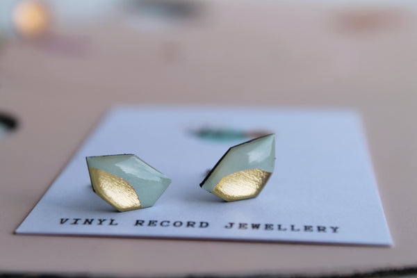 *new* simple casual chic studs in pastel mint green and gold
