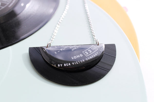 *new* RCA Victor large black vinyl record necklace / ONE OF A KIND
