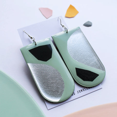 *new* Statement art earrings handmade from recycled vinyl record / in retro minty sage and silver