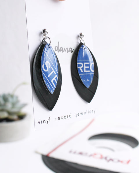 Blue STEREO unique recycled dangle earrings handmade from vinyl record