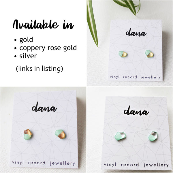 Dainty geometric vinyl record stud earrings in mint and silver