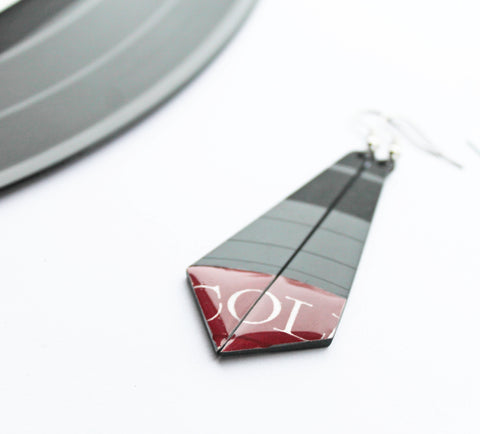 Funky vinyl record dangle earrings in dark red