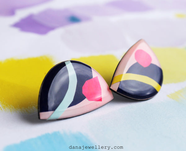 The moon art statement studs / designed and handmade in Ireland / recycled vinyl record jewellery
