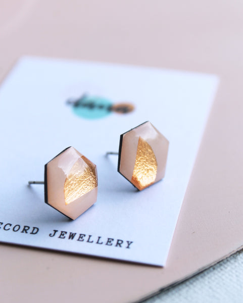 *new* warm pink and copper casual chic upcycled hexagon studs