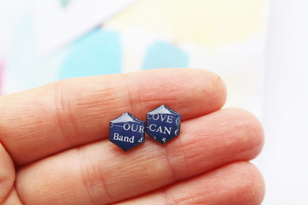 OUR LOVE in dark blue ♥ simple but full of love upcycled vinyl records studs