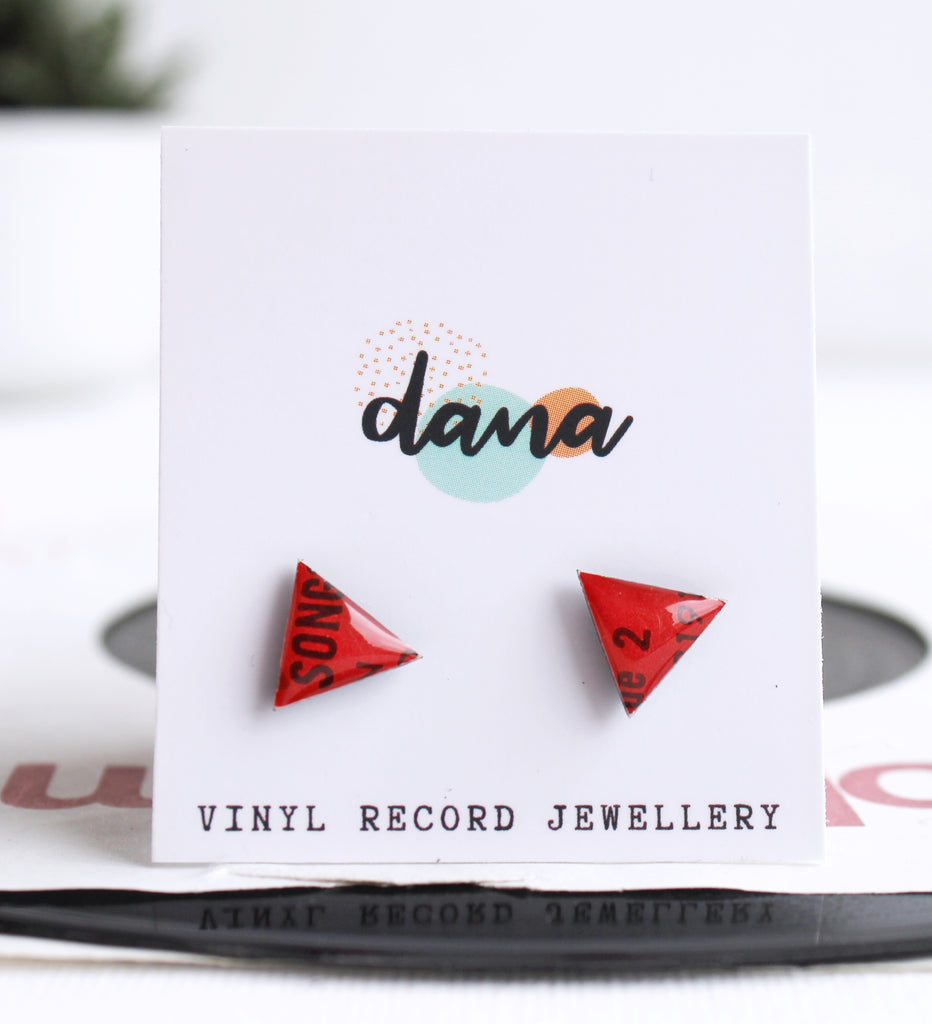 *NEW hot red triangle vinyl record studs by DANA Jewellery