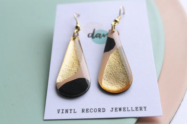 *new* stylish yet upcycled / the teardrops in gold and warm pink