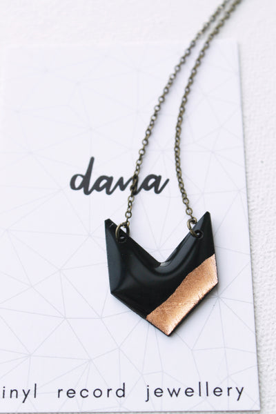 Minimal boho chic upcycled chevron necklace in black and copper