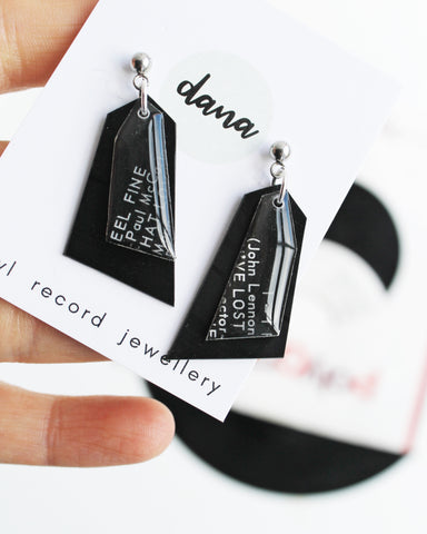 J. Lennon P. McCartney Black recycled dangle earrings handmade from vinyl record