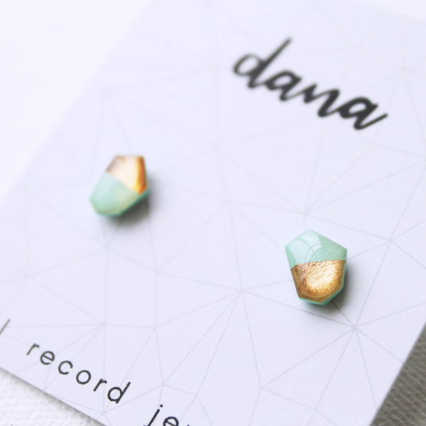 Contemporary mint and coppery rose gold vinyl record post earrings