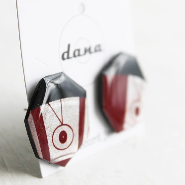 Dark red statement vinyl record post earrings